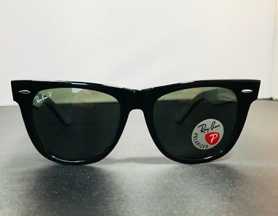 6bdc9de7535255 RAY-BAN ORIGINAL WAYFARER Polarized Green Lens  Black RB2140 901 54-18