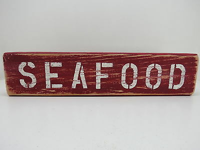 15 Inch Wood Hand Painted Seafood Sign Nautical Maritime (#s647)