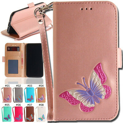 Flip Stand Card Slot Wallet Cover PU Leather Butterfly Case For Apple iPhone X