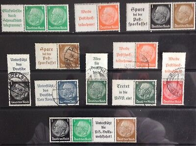 Germany - Hindenburg issues in singles & pairs with tabs MNH/MLH & Used