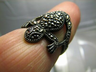 Frog ! Author's Work ! Old Vintage  Sterling Silver Ring #328