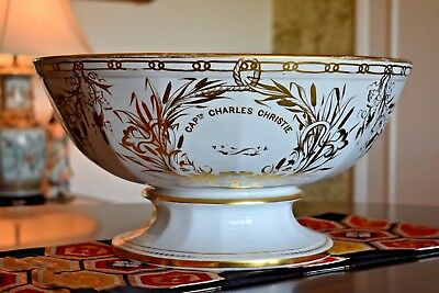 Huge Historical Antique CAPTAIN CHARLES CHRISTIE Bow Chelsea Anchor Punch Bowl