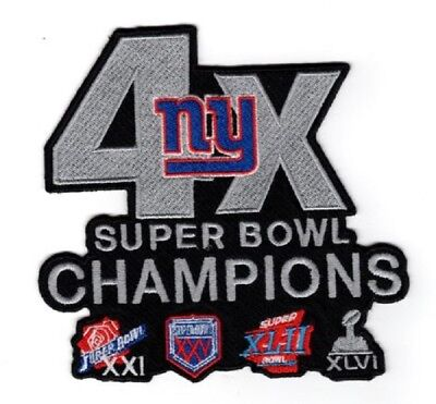 "New York Giants Patch 4X Super Bowl Champions Jersey Style 5"" Nfl Superbowl 52?"