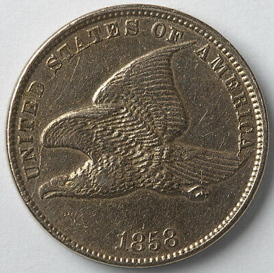 1858 Flying Eagle Cent Small Letters nice but cleaned