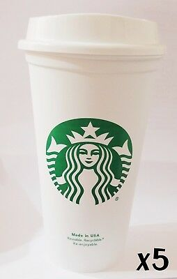 STARBUCKS Reusable Recyclable Grande 16 OZ Plastic Coffee Cup X5