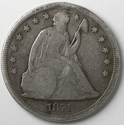 1871 Seated Liberty Dollar with motto Cleaned, Holed & Filled