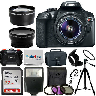 Canon Rebel T6 DSLR Camera + 18-55mm 3 Lens Kit +32GB Top Value Accessory Bundle