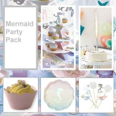 Mermaid Party Pack: Childrens Party Tableware & Party Decorations
