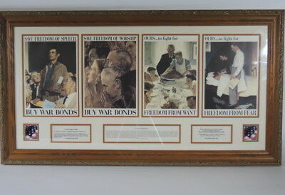 Norman Rockwell Four Freedoms World War 2 Prints Matted & Framed