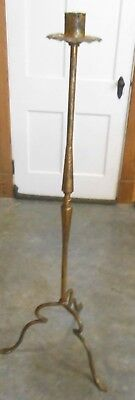 "Antique 52"" Gold Gilt Wrought Iron Floor/Church Candle Holder (160-SW)"