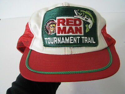 5a4e7a9acf8 Vtg REDMAN RED MAN CHEWING TOBACCO Bass Fishing Tournament Trail CAP HAT  SNAPBAK