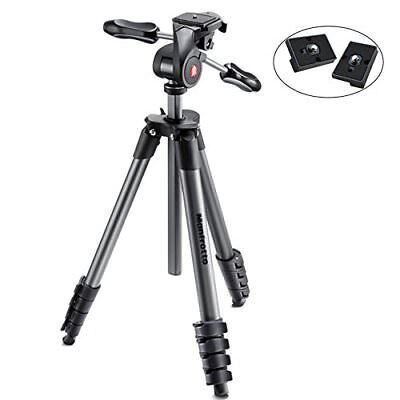 Manfrotto MKCOMPACTADV-BK Compact Advanced Tripod with 3-Way Head Black – Wit...