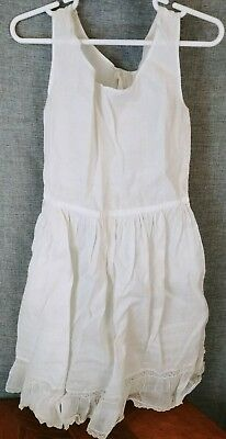 Antique BABY Gown Petticoat Linen and Lace Crochet Edging Doll Christening Gown