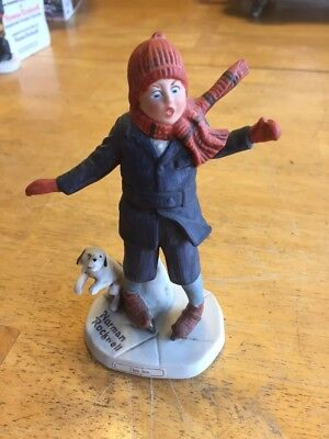 """vintage norman rockwell figurine""""thin Ice""""Cg-6 Limited To 7,500 Look! Nice!"""