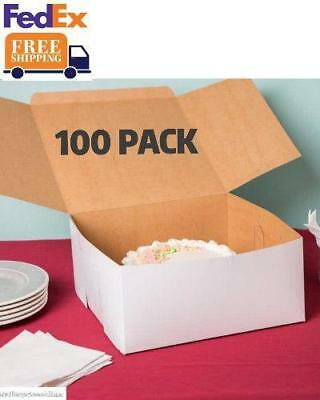 100 Pack Cake Boxes Bakery Shop Candy Cookie Doughnut 12 X 12 X 6