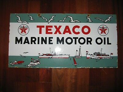 Vintage Texaco Marine Motor Oil Porcelain Sign Advertisement