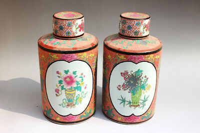 Chinese antique Famille-rose flowers Porcelain vase tank Pair