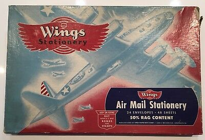 Original WWII U.S. Air Mail Buy Bonds WINGS STATIONARY BOX APEX CHICAGO IL