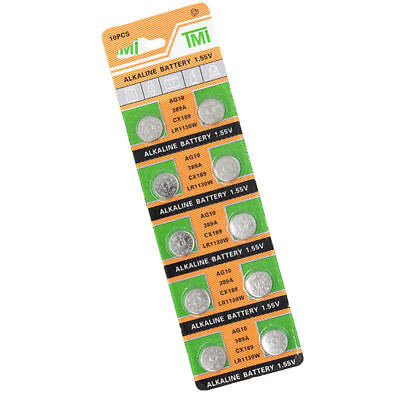 Lots 10PCS AG10/LR1130 Button Coin Cell Pack Alkaline Batteries Salable Supply