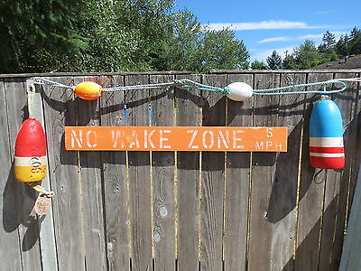 48 Inch Wood Hand Painted No Wake Zone 5Mph Sign Nautical Seafood (#s835)