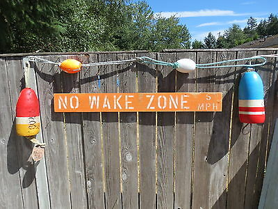 48 Inch Wood Hand Painted No Wake Zone 5Mph Sign Nautical Seafood (#s836)