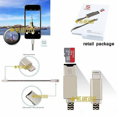 i-Flash Drive Memory Stick Microsd SD Card Reader USB Data Cable for iPhone US