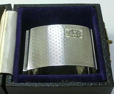 Vintage Cased hallmarked 925 Silver Napkin Ring (inscribed 'MB' or 'BM') – 1932