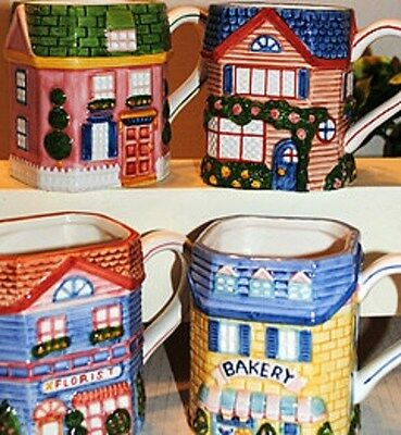 RARE VTG 1997 SET OF 4 Avon  Cottage Collection Mugs-NEW IN BOXES-FREE SHIPPING