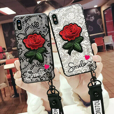 Lace Rose Flower WIth Lanyard Case For Huawei Y9 Prime Y6 Y7 Pro P20 Lite 2019