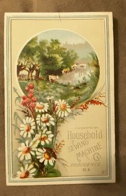 Rare 1882 Household Sewing Machine Victorian Trade Card Providence R. I.