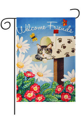 """Morigins - Cute Cat welcome Friends Double-Sided Spring Garden Flag 12"""" x 18"""""""