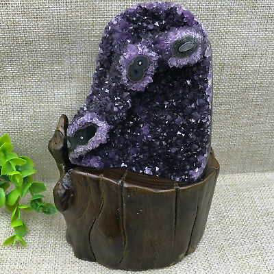 Natural Uruguay Deep Purple Crystal Quartz Amethyst Geode Clusters +Stand A24