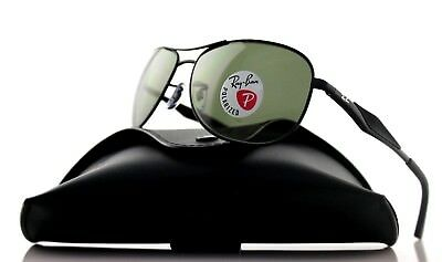 4912a2d6b224f POLARIZED New RAY-BAN Active Matte Black Green Aviator Sunglasses RB 3519  006 9A