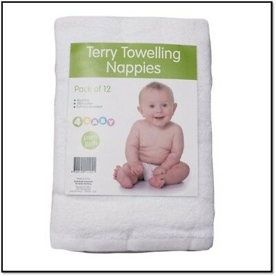 Cotton Baby Nappies Newborn Cloth White Terry Towelling Fabric Nappy Reuseable