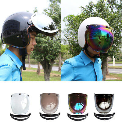 Helmet Visor Bubble 3-Snap Motorcycle Wind Shield Lens Windshield Glasses Mask