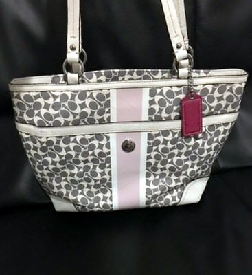 Auth. COACH 15137 Chelsea Leather Bag Handbag Purse Stripe Tote Gray White Pink