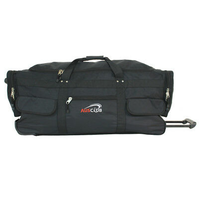 AUS Club - 90cm Jumbo Wheeled Duffle Bag - Black