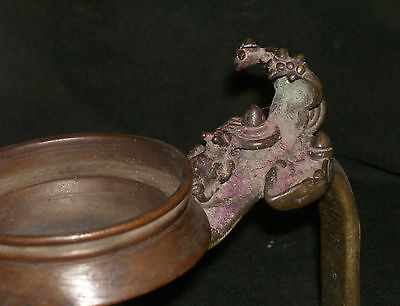 Antique Hindu Traditional Indian  Ritual Bronze 'Oil Lamp' Rare Museum Quality