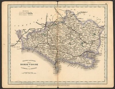 1864 Antique Map- Railway And Stations, Dorsetshire, Weymouth,poole,lyme,
