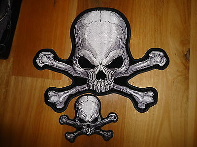 Skull And Cross Bones Back Patch Iron On Embroided Quality Patch Harley Davidson
