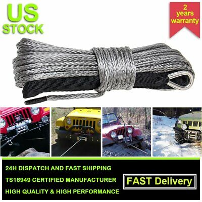 1/4''x50' Synthetic Winch Rope Line Grey Recovery Cable 10000LBS 4WD W/Sheath