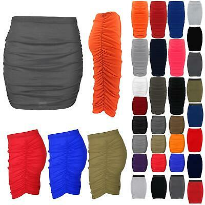 Womens Mini Length Skirt Ladies Bodycon Fit Plain Stretchy Side Ruched Plus Size