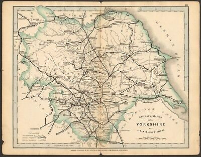 1864 Antique Map- Railway And Stations, Yorkshire, Full County