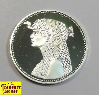 1414 1993 Egypt 5 Five Egyptian Pounds Proof Cleopatra .999 Fine Silver Coin NR!