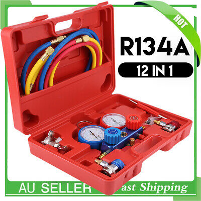 """R134a Manifold Gauge Set AC A/C 5FT with Color Hose Air Conditioner HVAC 60"""" Red"""