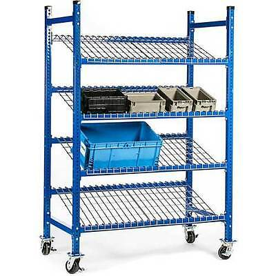 """NEW! UNEX Flow Cell Mobile Pick Tray Rack-3 Tilted Wire Shelves-52"""" x 28"""" x 72""""!"""