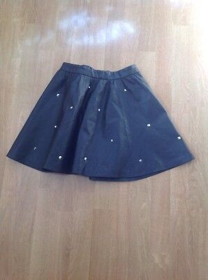H&m Divided Black Faux Leather Studded Short Skirt Uk Size 8(More Like 6) Worn