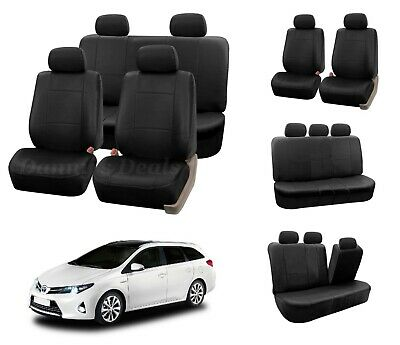 Black Leather Look Car Seat Covers Cover For Toyota Auris Sports Estate 2013 On