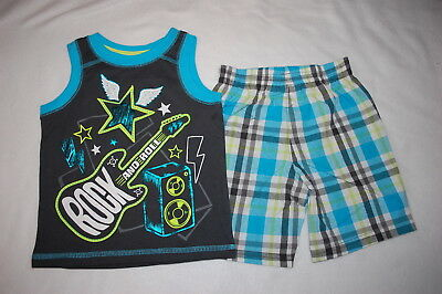 Toddler Boys ROCK & ROLL Guitar TANK TOP Turquoise Gray Plaid Shorts 2T 3T 4T 5T