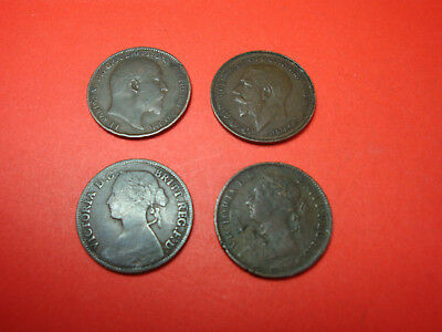 Great Britain 1885,1861,1905,1925 Farthing Coins No Reserve